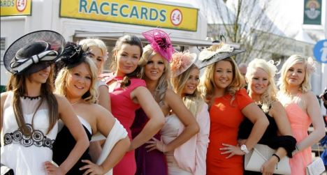 Ladies arriving for the glamorous Ladies Day of the Cheltenham festival