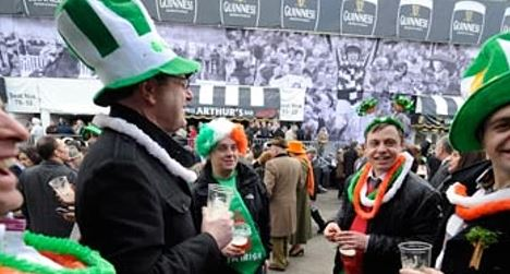 Punters enjoy a drink on St Paddy's day at Cheltenham festival