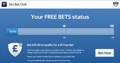 Sky Bet Club status screen