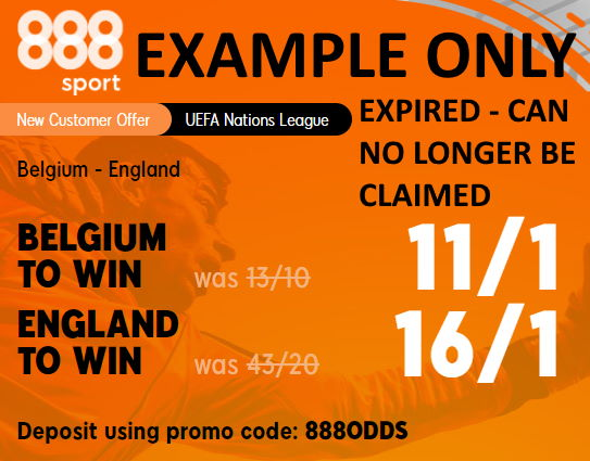 Example enhanced odds with prices on two selections