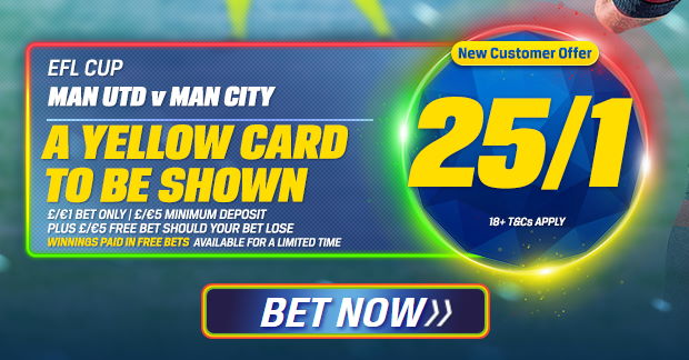 A yellow card to be shown enhanced odds